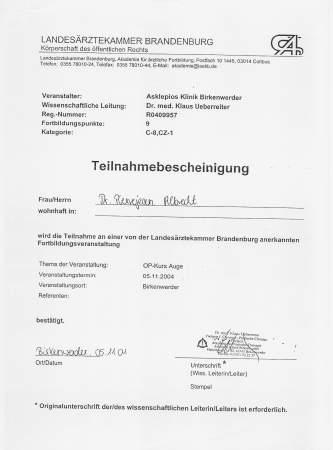 Dr. Pierjean (pier) Albrecht - Birkenwerder Plastic Surgery Symposium Certificate 2004 - Berlin 2004