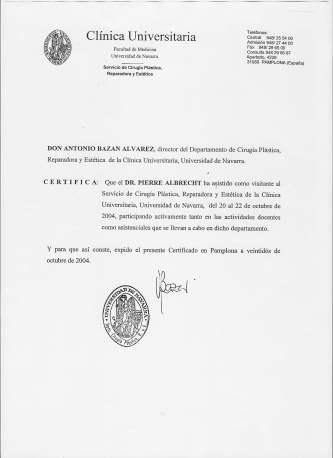 Dr. Pierjean (pier) Albrecht - Navarre University Clinic Certificate  . 2004